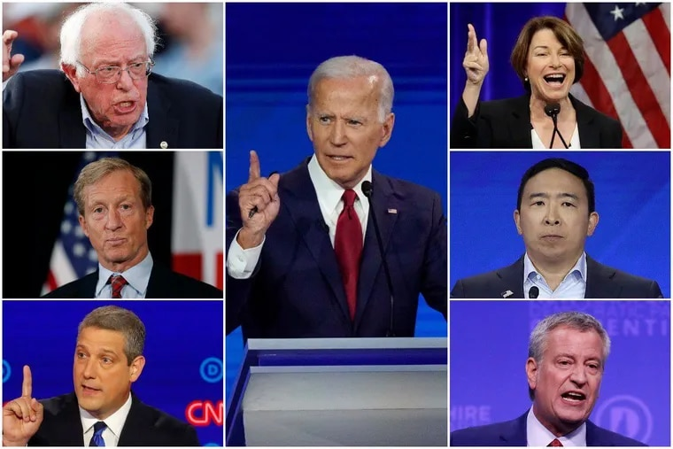 Former Vice President Joe Biden (center) and six other Democratic candidates for president are scheduled to speak at a forum Tuesday at the Pennsylvania Convention Center, sponsored by the Philadelphia AFL-CIO. They include U.S. Sen. Bernie Sanders (top left), U.S. Sen. Amy Klobuchar (top right), billionaire activist Tom Steyer (middle left), entrepreneur Andrew Yang (middle right), U.S. Rep. Tim Ryan (bottom left), and New York Mayor Bill de Blasio (bottom right.)