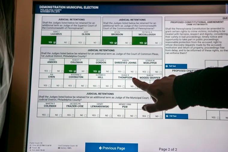 Philadelphia's touchscreen ExpressVote XL voting machines.