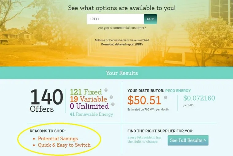 """The Public Utility Commission has revised its electricity shopping website so that it no longer promotes unrealistic consumer savings from some suppliers. The revised language, encircled in yellow, now only promotes """"potential savings."""""""