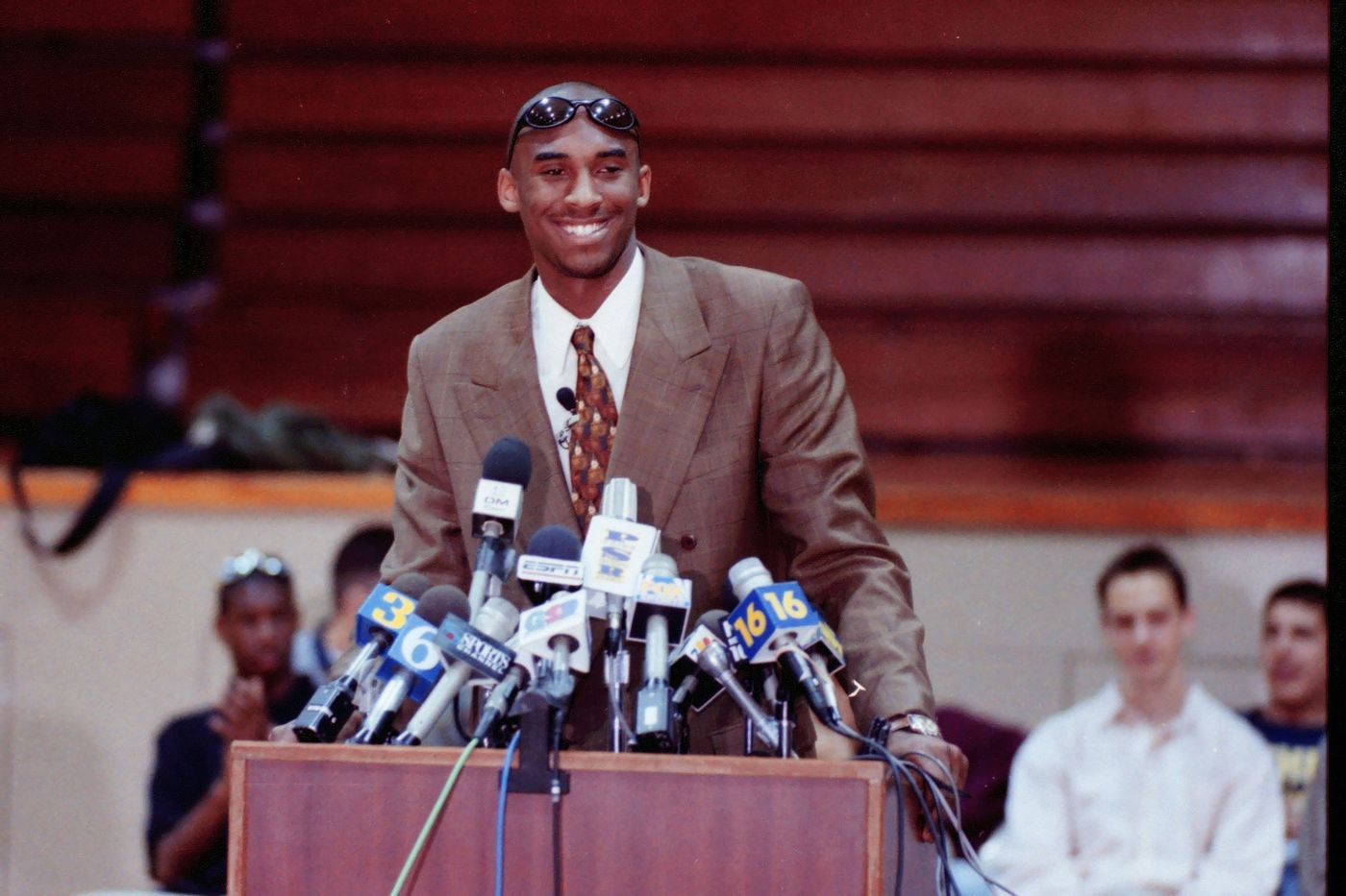 Kobe Bryant on the day he announced he is headed to the NBA, at Lower Merion High School, in April 1996.