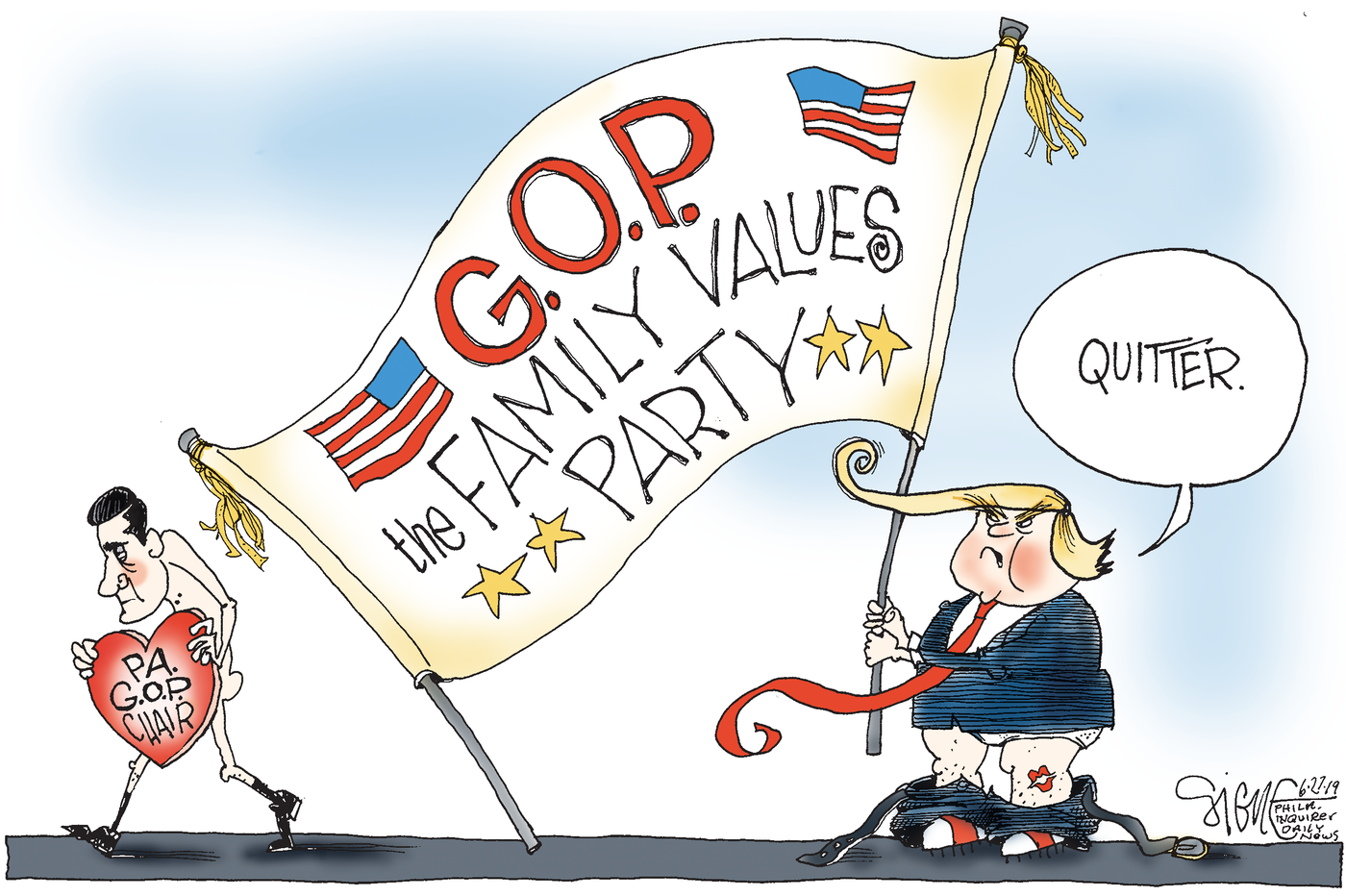 Political Cartoon Pennsylvania S Gop Chief Digiorgio Resigns Over Picturesque Messages