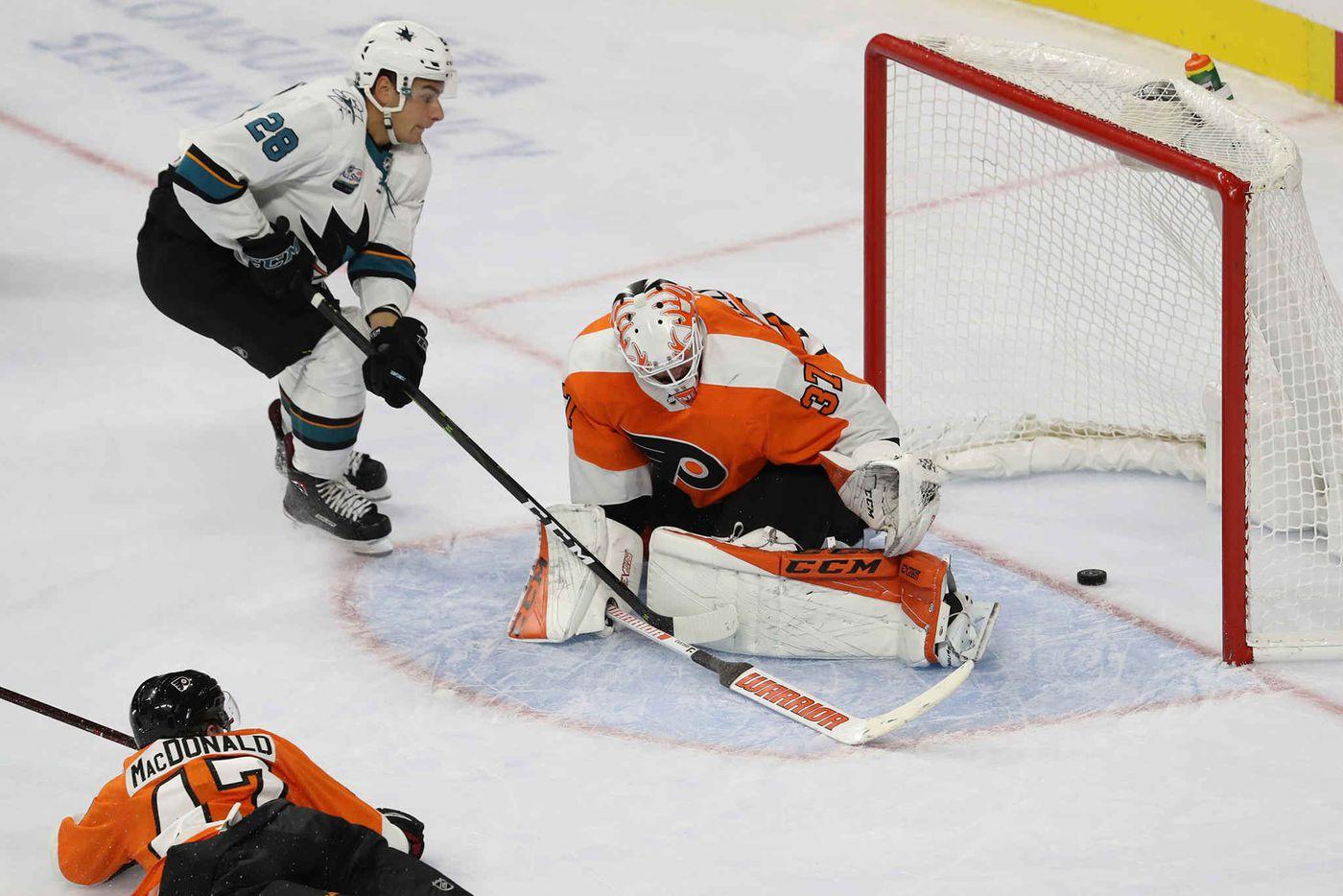 25c9ea8d16d San Jose Sharks Timo Meier scores between the legs of Flyers goalie Brian  Elliott Tuesday,