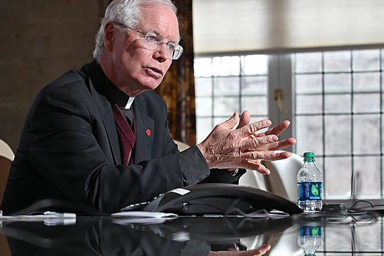 The Rev. C. Kevin Gillespie, president of St. Joseph's University, discusses the college's financial situation. He said the quality of incoming freshmen would not diminish. MICHAEL BRYANT / Staff Photographer