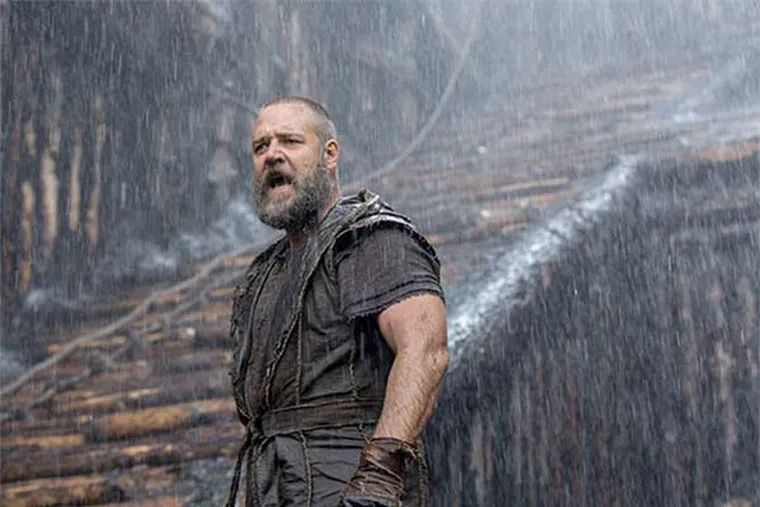 """Hard rain: Russell Crowe in """"Noah,"""" a fist-pumping, never-dull retelling of the story of the flood and the ark and all those animals."""