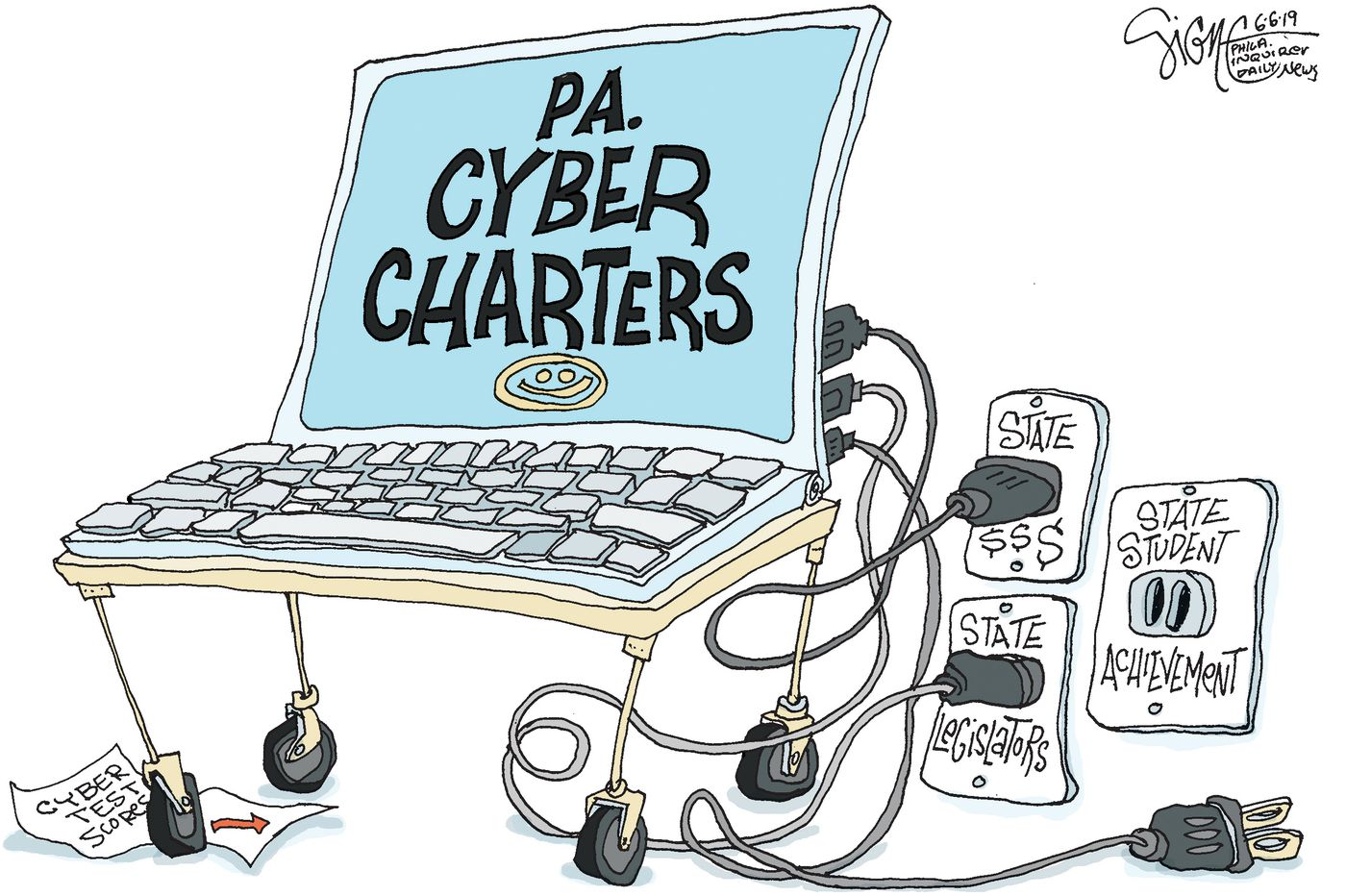 Political Cartoon: Pa. cyber schools got their report card
