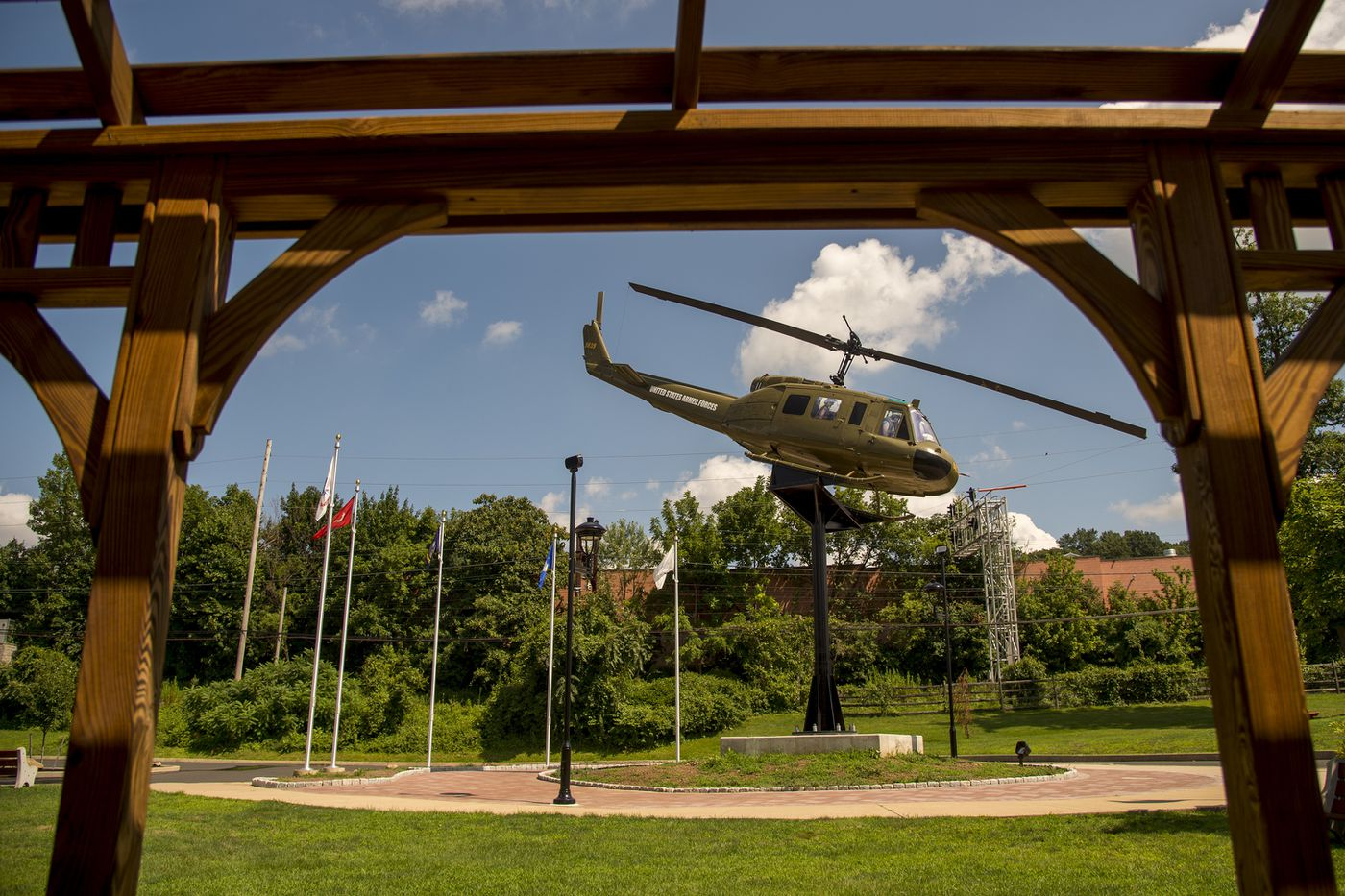 A Vietnam War-era Bell UH-1 Iroquois Huey helicopter in Willow Grove's Veterans Memorial Park. Ralph Storti, a Vietnam War veteran, spent 14 years working to bring to life his vision of the memorial that would honor members of all branches of the armed services.