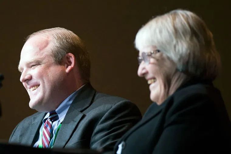 Ron Belgau, a celibate gay Catholic, and his mother, Beverly Belgau, spoke to the World Meeting. (ED HILLE/STAFF PHOTOGRAPHER)