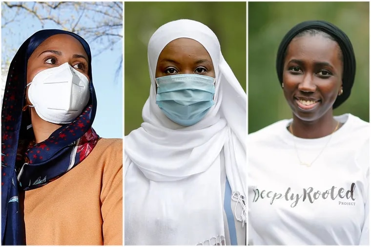 From left to right: Safiyya Shabazz, Kameelah Rashad, and Oumy Thioune. All three women are National Black Muslim COVID Coalition organizers working from the Philadelphia area.