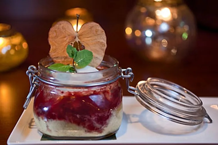 There was orchard comfort in apple bread pudding served in a Mason jar. (DAVID M WARREN / Staff Photographer)