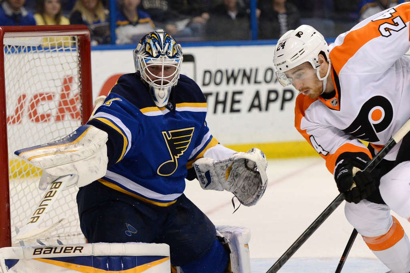 Mason dazzles but Flyers fall to Blues in shootout