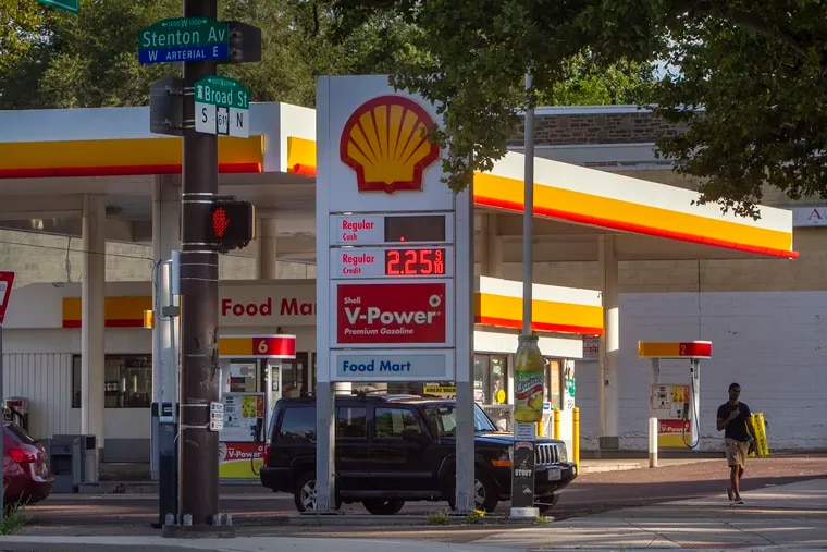 Two men were fatally shot late Thursday night at this Shell gasoline station on North Broad Street near Stenton Avenue in Ogontz. The gas station is shown here on Friday morning.