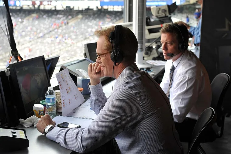Fox Sports play-by-play announcer Joe Buck (left) and analyst Troy Aikman will call their sixth Super Bowl together Sunday night from Miami.