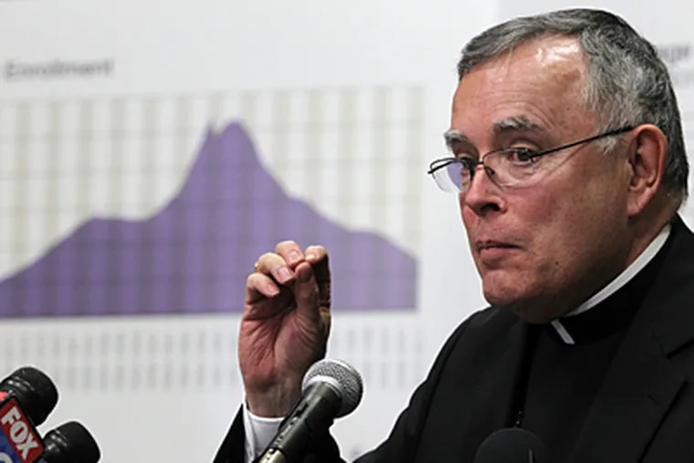 Archbishop Charles J. Chaput in January, at a news conference at which the school closings were announced. The graph behind him charts archdiocesan school enrollment since 1894, with a peak in the 1950s and '60s and a substantial decline since then. (Michael Bryant / Staff Photographer)