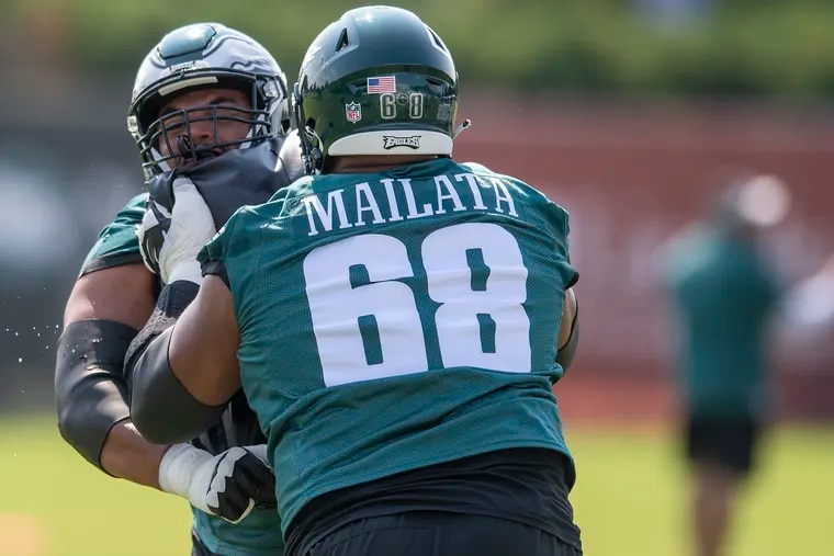 Andre Dillard, left and Jordan Mailata, practice during, 2021 Eagles Training Camp in Philadelphia, Pa. Friday, July 30, 2021.