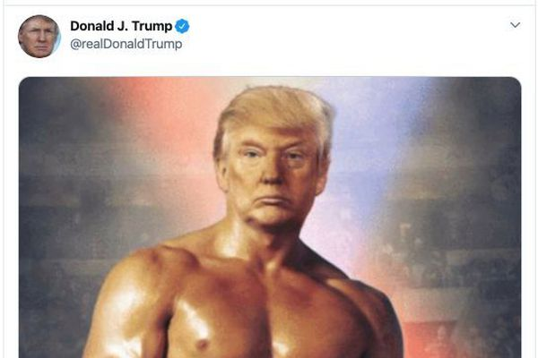 Trump tweets a picture of himself as Rocky