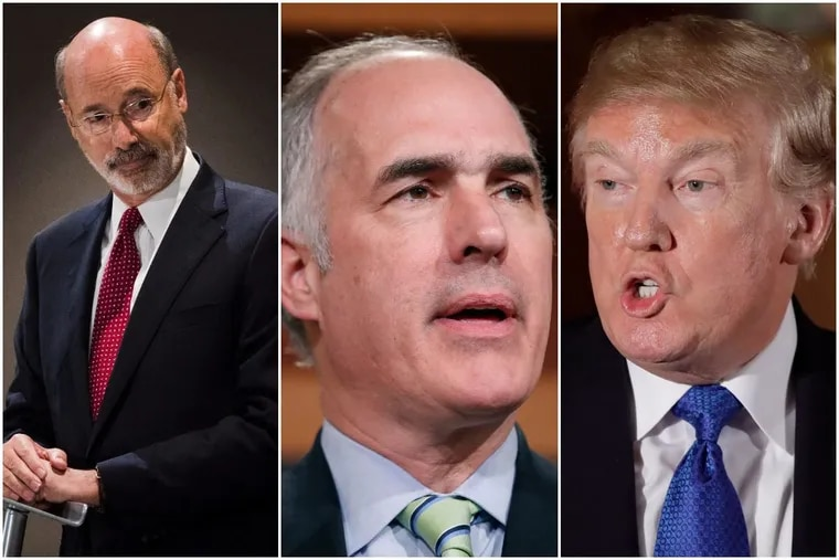 Pennsylvania Democrats Gov. Tom Wolf and Sen. Bob Casey look well positioned at this point for reelection in 2018, thanks to history and President Trump. (AP photos)