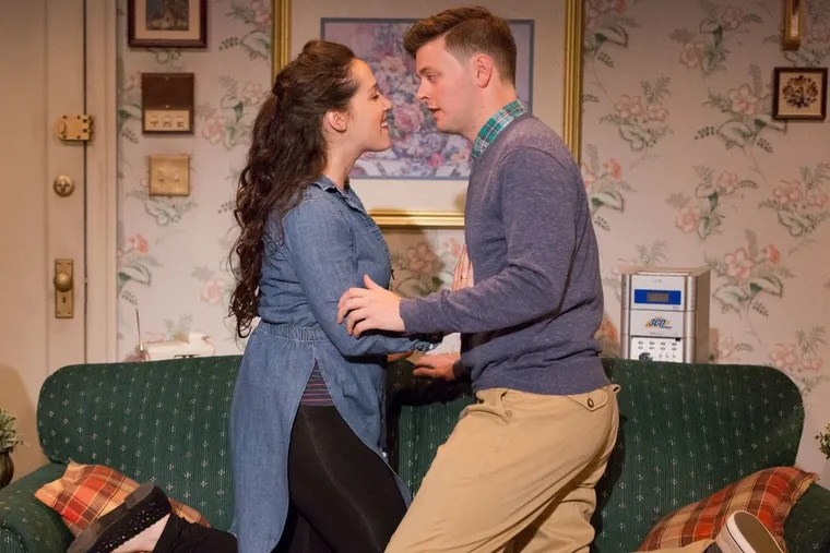 """(Left to right:) Alex Keiper and Michael Doherty in """"Touchtones,"""" through Dec. 3 at Arden Theatre Company."""