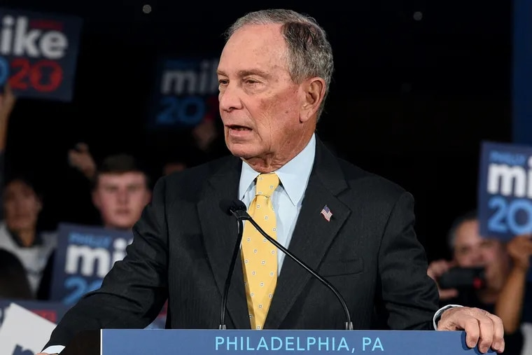 Democratic presidential candidate Mike Bloomberg appears at a campaign rally at the National Constitution Center in Philadelphia on Feb. 4, 2020.