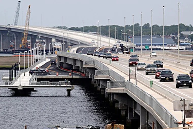 Motorists get a chance to try out the new Route 52 Causeway in Ocean City, which will officially open next week, well ahead of the Memorial Day start of the tourist season at the Jersey Shore. AKIRA SUWA / Staff Photographer