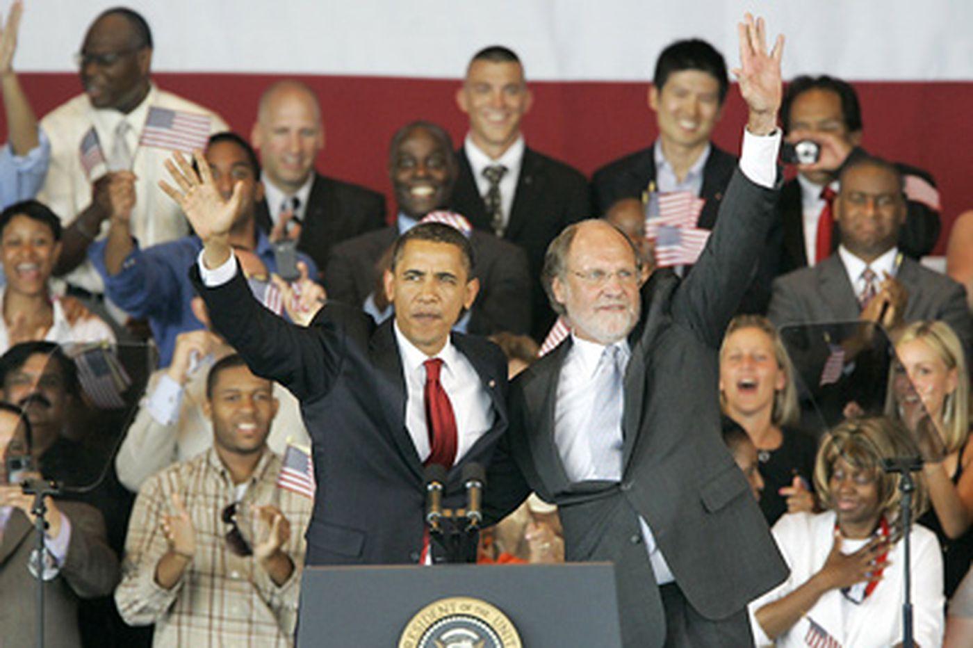 Obama praises Corzine at rally in N.J.