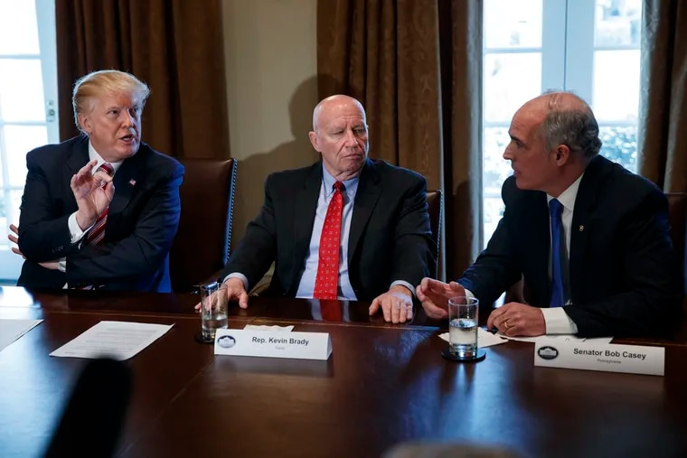 President Trump, in a speech in Wilkes-Barre Thursday, said he had never met U.S. Sen. Bob Casey Jr., D-Pa. The two men spoke during a White House meeting on trade in February, with U.S. Rep. Kevin Brady, R-Texas, sitting between them.