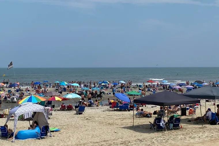 Beachgoers on 40th Street in Sea Isle City, N.J.