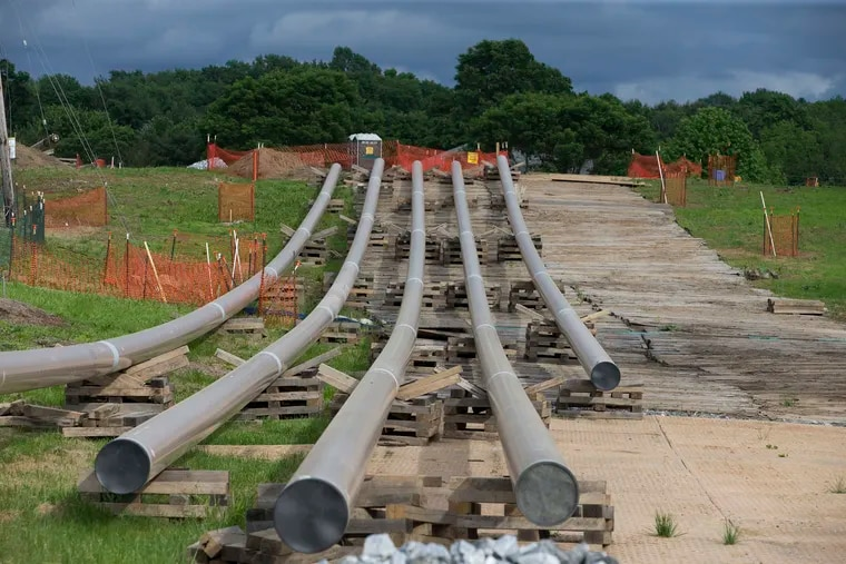 Pipes for the Mariner East pipeline await installation near the Goshen Corporate Park in Chester County. CHARLES FOX / Staff Photographer