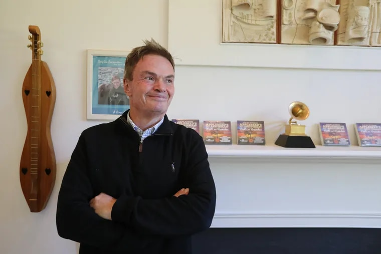 Jim Musselman, head of Appleseed Recordings in his West Chester home office Friday October 12, 2018. DAVID SWANSON / Staff Photographer .