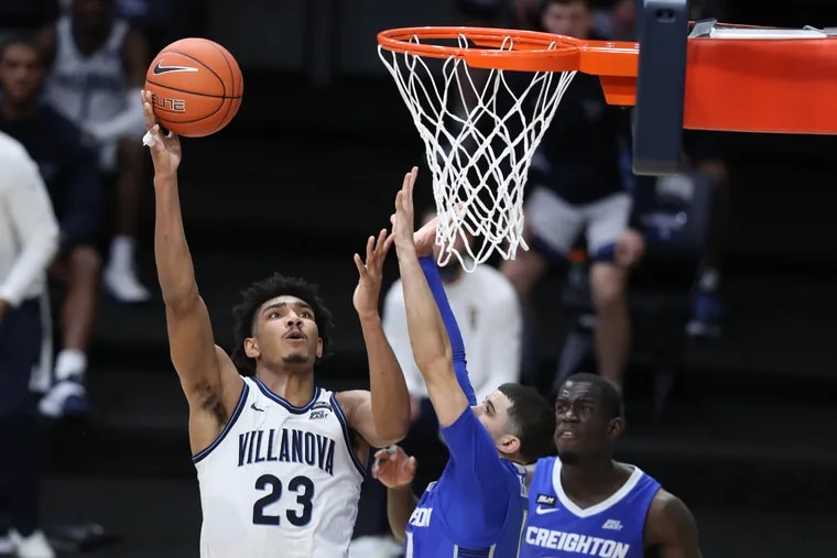 Jermaine Samuels, left, of Villanova shoots over Marcus Zegarowski of Creighton during the 2nd half on March 3, 2021 at the Finneran Pavilion at Villanova University. Samuels is one of the few Wildcats who have played in the Big East tournament.