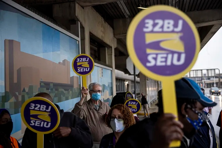 Airport workers from SEIU Local 32BJ and Unite Here Local 274 held a rally to advocate for better wages and health benefits at Philadelphia International Airport on May 5, 2021. Mayor Jim Kenney has now signed a law establishing new standards for pay and benefits for airport service workers.