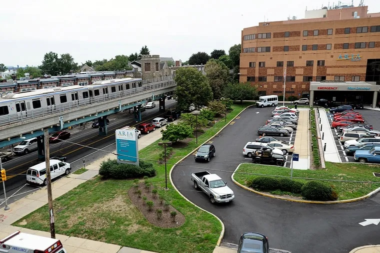 Aria Health, along Frankford Avenue, and Thomas Jefferson University have reached a preliminary merger deal. (SHARON GEKOSKI-KIMMEL/Inquirer File Photo)