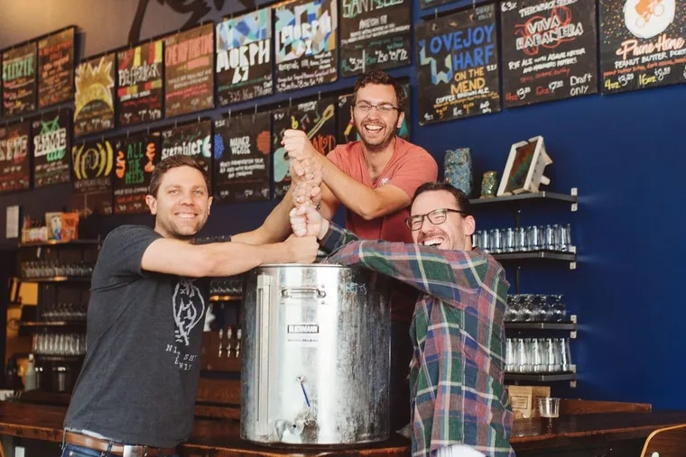 Night Shift Brewing founders (from left) Rob Burns, Michael Oxton, and Mike O'Mara at the brewery in Massachusetts.