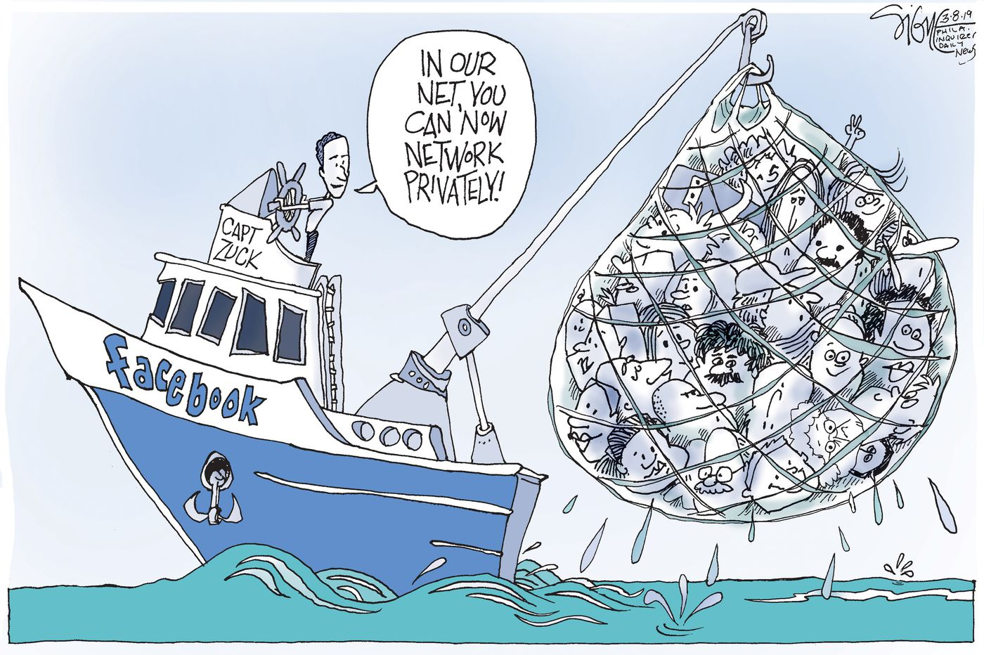 Mark Zuckerberg steering a ship named Facebook with a fishing net full of faces tagged by