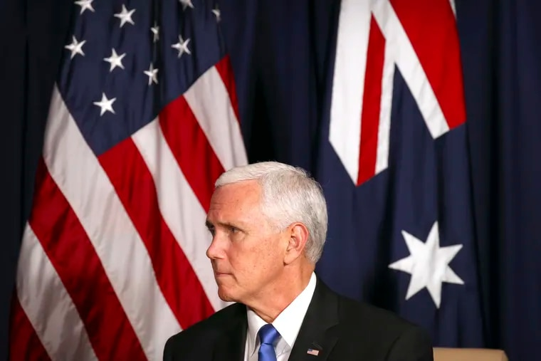 U.S. Vice President Mike Pence listens to Australian Prime Minster Scott Morrison during a bilateral meeting on the sidelines of the APEC Summit in Port Moresby, Papua New Guinea, Saturday, Nov. 17, 2018.
