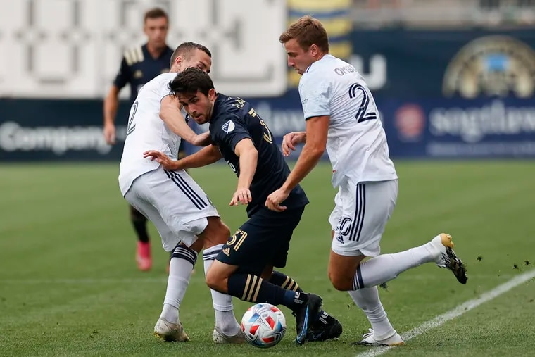 Where Leon Flach (center) starts on Saturday is the biggest question Jim Curtin faces.