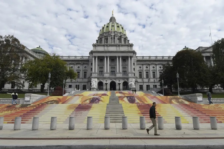 The steps of the Pennsylvania state Capitol are seen on Wednesday, Oct. 31, 2018, in Harrisburg, Pa. (AP Photo/Marc Levy)