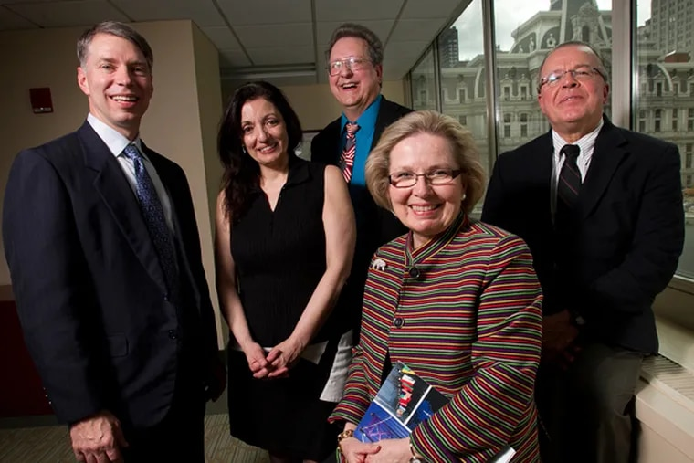 World Trade Center of Greater Philadelphia staff: (From left) Ron Drozd, manager, export services; Graziella DiNuzzo, marketing and program manager; Dale Foote, international trade specialist; Linda Mysliwy Conlin, president; and Dino Ramos, senior vice president, trade services. (ALEJANDRO A. ALVAREZ/STAFF PHOTOGRAPHER)