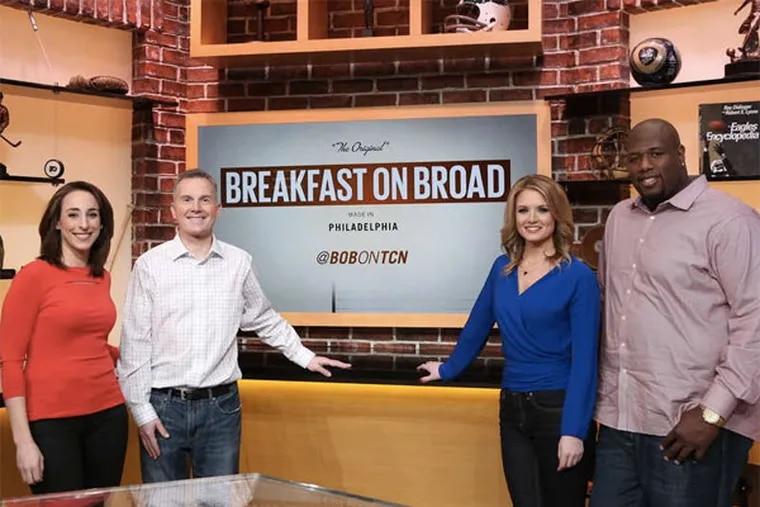 The new morning sports-talk show on the Comcast Network stars (from left) Sarah Baicker, Rob Ellis, Jillian Mele, and Barrett Brooks. (LEN REDKOLES /CSN)