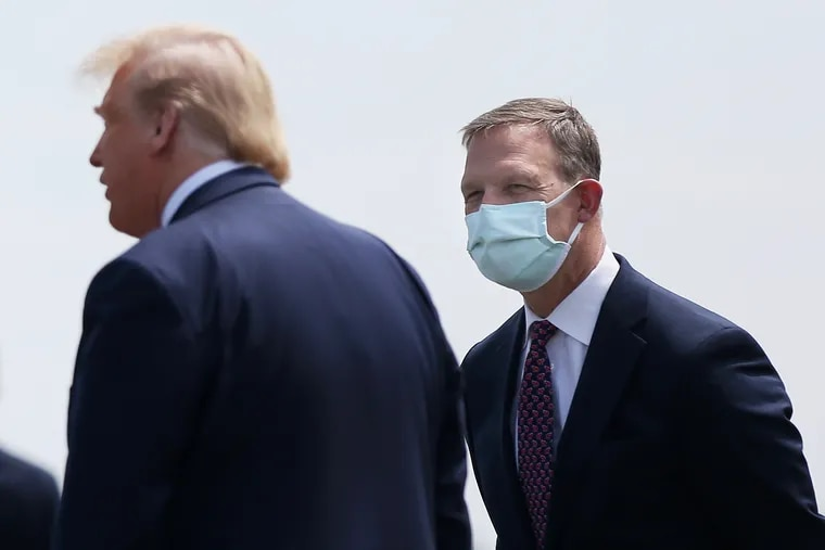 Rep. Scott Perry (R., Pa.) with former President Donald Trump after Air Force One landed at Lehigh Valley International Airport in Allentown in May.