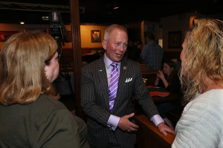 U.S. Rep. Jeff Van Drew talks with supporters during an election night party for New Jersey Democrats earlier this month.