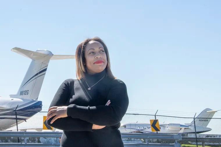 Flight attendant Latifah Fields near Philadelphia International Airport.