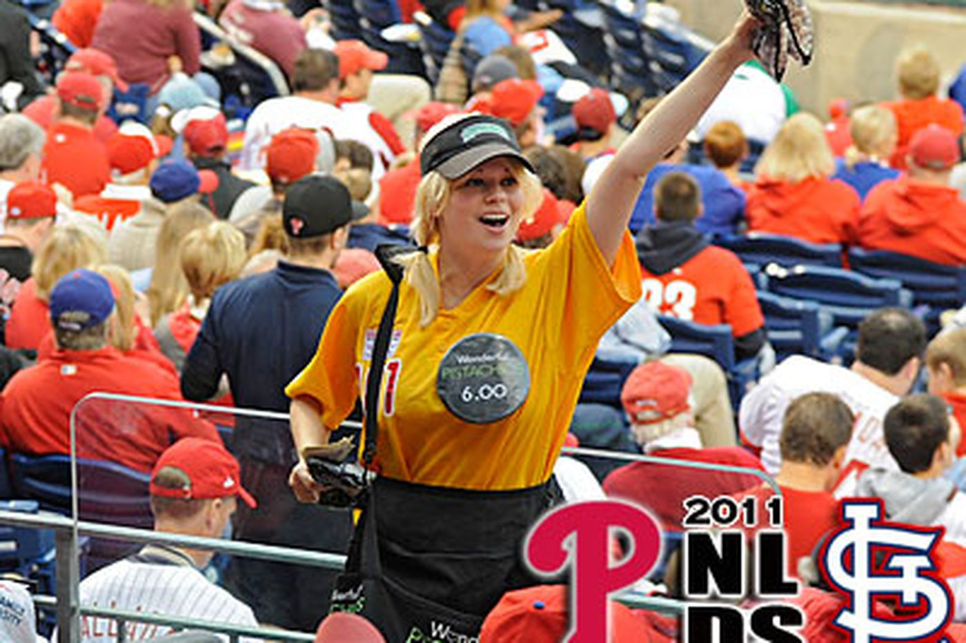 Pistachio Girl on her own in peanuts-and-Cracker-Jack world of Phillies ballpark