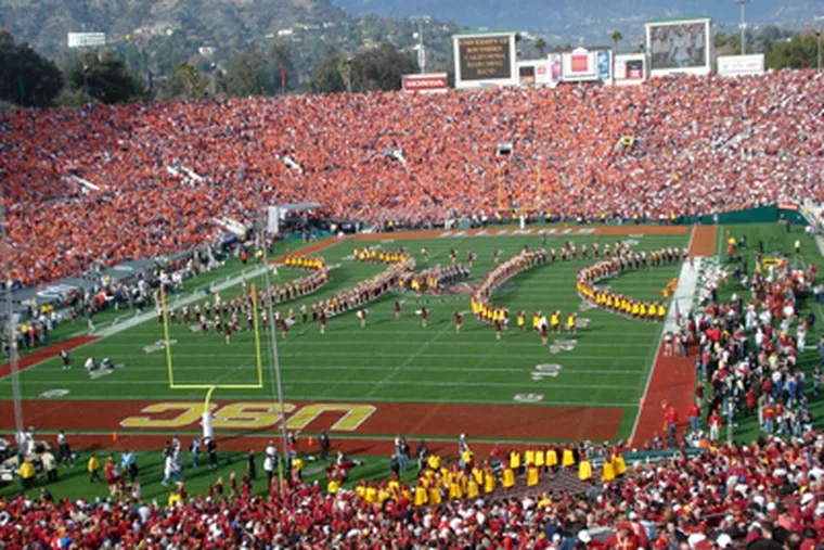 USC's marching band performing in the Rose Bowl in January 2008. The venue seats nearly 17,000 fewer fans than Penn State's 107,000-seat Beaver Stadium. (Photo by Carol Gifford)