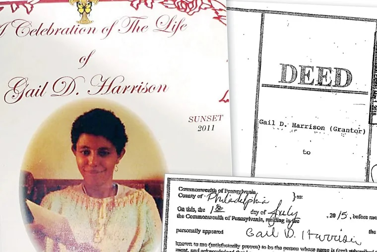 The funeral card for Gail D. Harrison shows her date of death in 2011, but deeds forged in her name are dated July, 2015.
