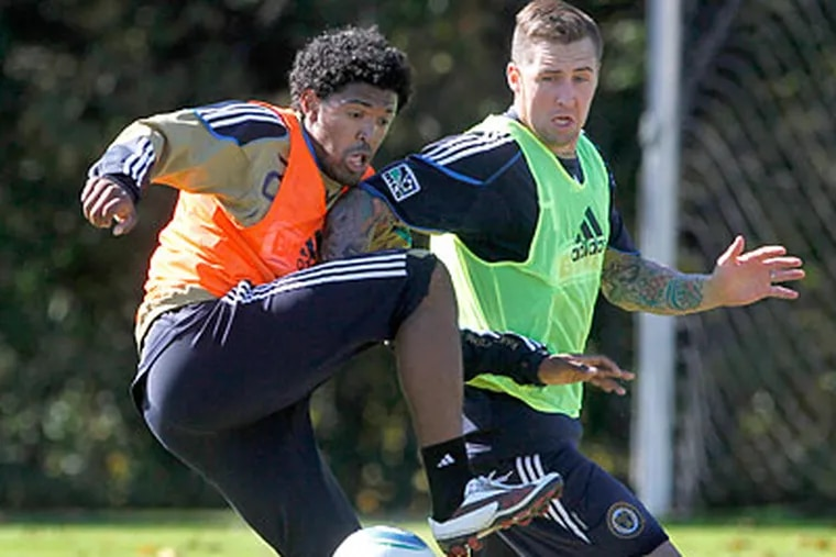 Sheanon Williams (left) has been a key player on the Union's stingy back line. (Charles Fox/Staff file photo)