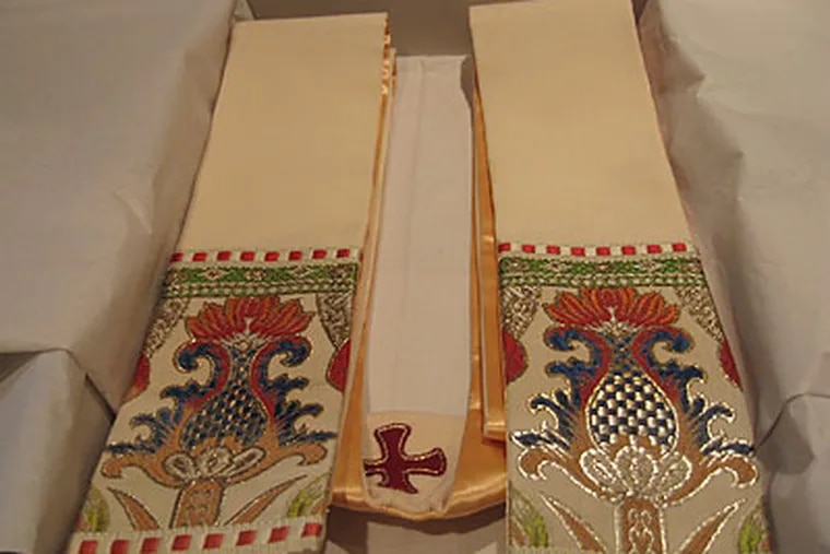 The stole that President Obama will give to Pope Benedict XVI was once draped around St. John Neumann's body. (Photo courtesy St. Jude Liturgical Arts Studio)
