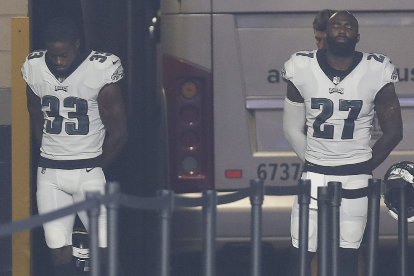 Malcolm Jenkins, Michael Bennett, De'Vante Bausby wait to take field instead of protesting during national anthem
