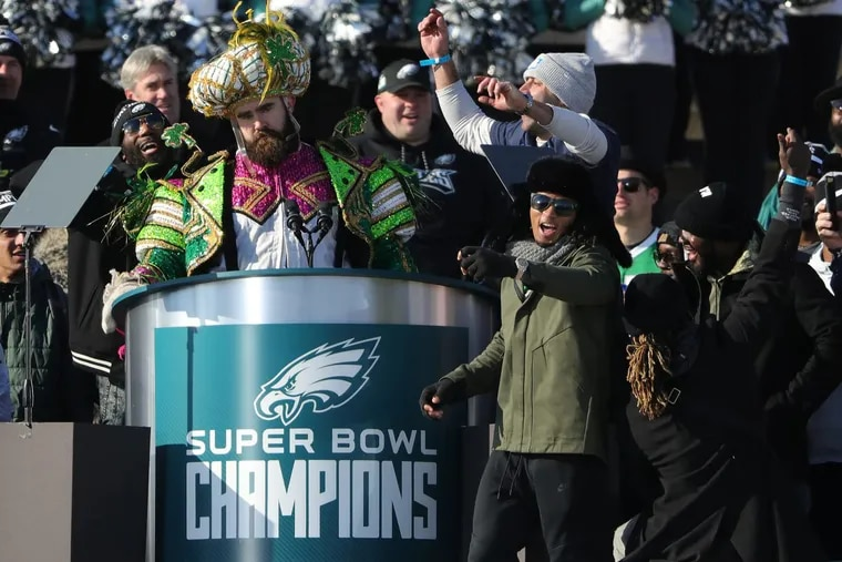 Eagles' Jason Kelce pauses during his speech at the Eagles Super Bowl Champions celebration at the Art Museum in Philadelphia on February 8, 2018.