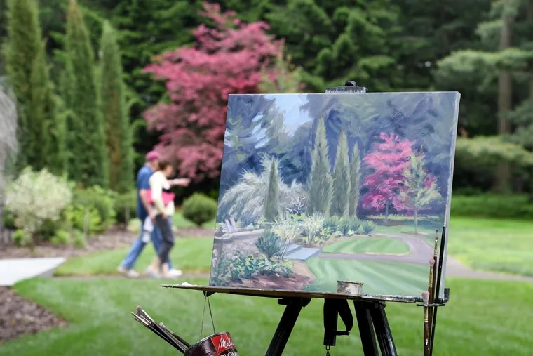 A painting in process from Dana McGahey is shown at the Stoneleigh gardens in May.