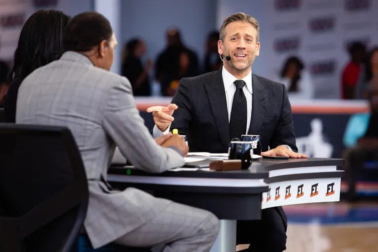 """Host Max Kellerman offers his opinion during the live production of the ESPN show """"First Take"""" at 76ers Fieldhouse in Wilmington back in September. Kellerman, Stephen A. Smith, and Molly Qerim Rose will bring 'First Take' to Philadelphia on Friday."""
